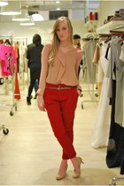 light pink Zara blouse - ruby red Zara pants - nude Steve Madden heels