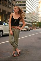 black house of harlow necklace - green Zara pants - red Uniqlo belt