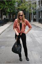 pink Forever 21 shirt - black Hudson jeans - black linea pelle bag