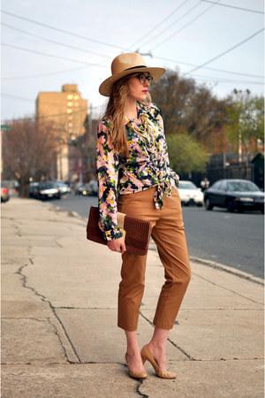camel H&M hat - pink H&M blouse - camel H&M pants - beige Steve Madden heels