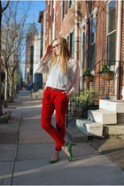 green tory burch shoes - ruby red Zara pants - white Need Supply blouse