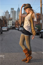 camel Zara boots - brown Target hat - cream American Apparel shirt - olive green