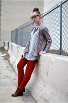 brown Jeffrey Campbell shoes - heather gray lilla p cardigan - silver H&M top -