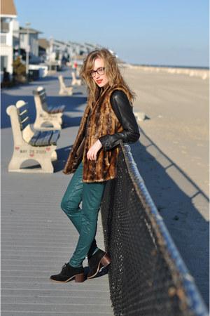 teal J Brand pants - black leather Urban 1972 jacket