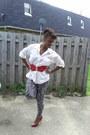 Harem-pants-urbanog-leggings-belt-blouse-peep-toe-pumps