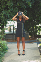 black motorcycle Forever 21 dress - black  hat Stssy hat