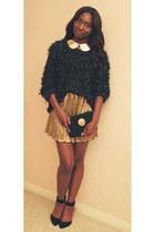 yellow mini skirt Forever 21 skirt - black thrifted sweater