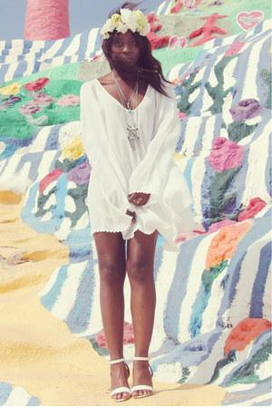 white For Love and Lemons dress - white Deena & Ozzy heels