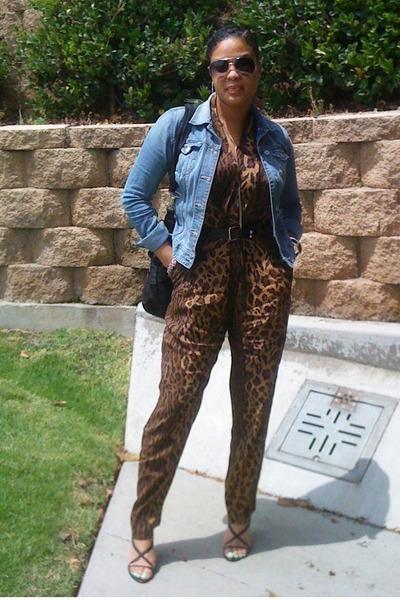 brown thrifted pants - blue H&M jacket - black Nine West shoes - black thrifted