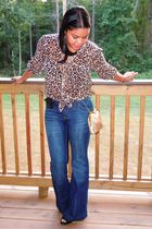 brown H&M blouse - blue random brand jeans - black Bisou Bisou shoes - gold thri