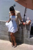 white skirt - gold thrifted blazer - purple Guess shoes - silver Forever 21 neck