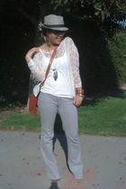 white Forever 21 top - brown DSW purse - silver jeans - green Forever 21 hat