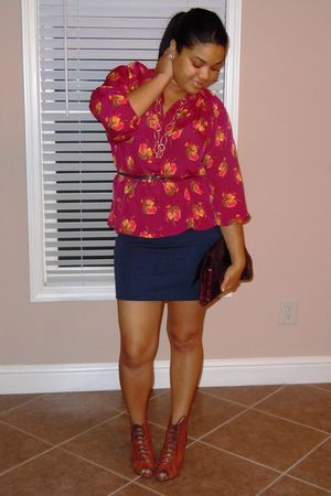 pink Tucker for Target blouse - blue H&M skirt - brown sam edelman shoes - brown