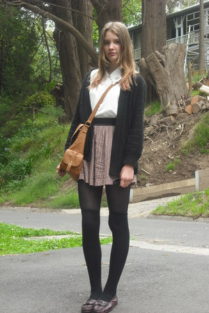 maroon patterned cotton on skirt - black tights - tan bag