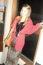 satchel Sportsgirl bag - DIY skirt - leotard supre top - fuzzy thrifted cardigan