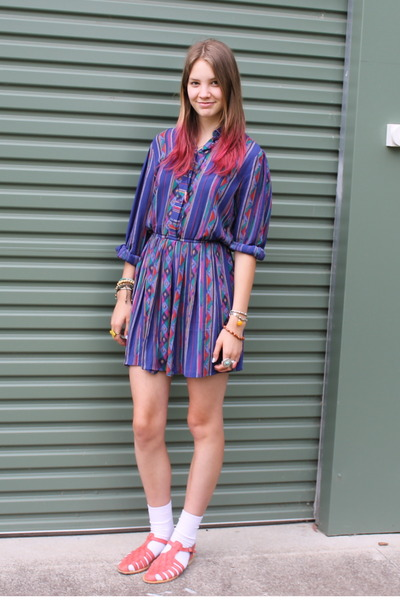 bubble gum Sportsgirl sandals - blue patterned vintage dress - white socks