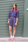 Blue-patterned-vintage-dress-white-socks-bubble-gum-sportsgirl-sandals