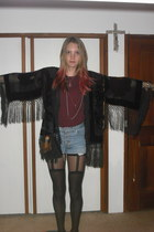 maroon knit vintage top - black burnout duster vintage from Ebay jacket