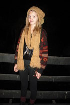 ruby red print vintage cardigan - burnt orange beanie and vintage scarf