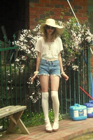 light pink Forever New shoes - ivory socks - sky blue shorts - light pink Mink P