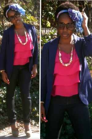 hot pink H&M shirt - navy Levis jeans - navy Forever 21 blazer