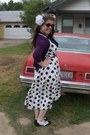 Black-wild-diva-shoes-white-vintage-dress-purple-merona-cardigan
