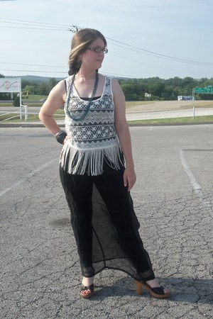 ivory fringe Forever 21 top - black leggings - black sheer thrifted skirt