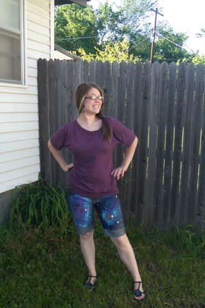 black flower shoes - purple Mudd shirt - sky blue DIY shorts