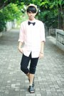 Vintage-hat-black-black-skinny-jeans-jacket-light-pink-ronzaro-shirt