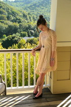 light pink lace free people dress - dark gray pocket watch necklace