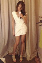 white white dress BCBG dress - beige LF wedges