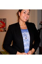 black pinstriped thrifted blazer - blue graphic American Eagle top