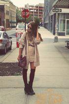 beige Zara blouse - beige Topshop cardigan - red American Apparel socks - black