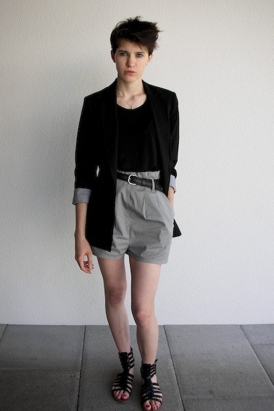 American Apparel shirt - Zara blazer - borrowed from my father belt - H&M shorts