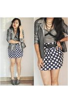 gray thrifted shoes - gray thrifted blazer - black thrifted coat - black thrifte
