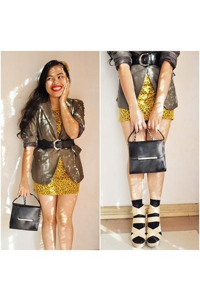beige shoes - black - brown blazer - black belt - gold dress - beige accessories