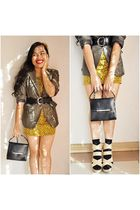 beige shoes - black - brown blazer - black belt - gold dress - beige accessories