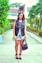 MCM bag - H & M top - origami wrap Choies skirt