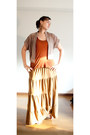 Tan-forever-21-blouse-tawny-forever-21-top-bronze-long-skirt-h-m-skirt