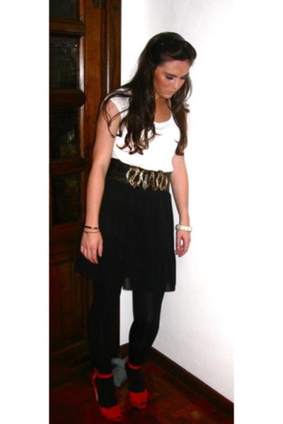 H&M t-shirt - vintage belt - skirt - shoes