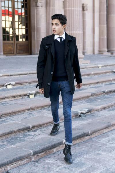 navy Primark sweater - white c&a shirt - black Primark tie