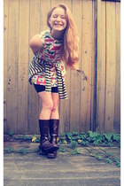 striped Goodwill sweater - Salvation Army boots - butterfly shift vintage dress