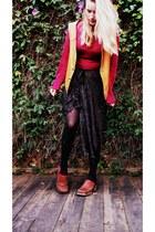 black sparkles DIY skirt - hot pink knit Goodwill sweater