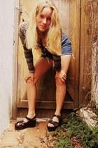 denim cut-offs thrifted vintage shorts - Anne Taylor cape