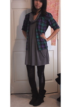 gray dress - black tights - brown Target boots - purple vintage shirt