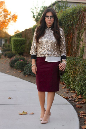 sequins kohls blouse - Target skirt - Zara pumps
