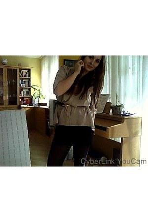 beige sheer H&M blouse - black Topshop belt - black Sisters skirt - coral H&M ri