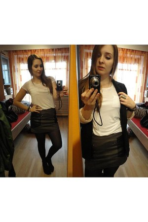 Topshop blazer - H&M shirt - leather details H&M skirt - H&M ring
