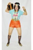 carrot orange leather shorts Ferocetti shorts - blue blue cotton Ferocetti blous