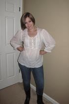 Lucky Brand earrings - H&M blouse - Lucky Brand jeans - Madden Girl boots